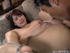 Adorable Japanese chick Yui Ooba shows her pussy to some guy and lets him play with her pink cave till it gets juicy. Then they fuck in missionary and other positions and Yui moans loudly with pleasure.