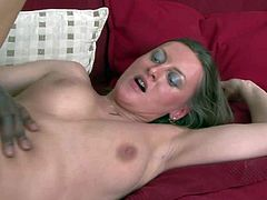 Cheating brunette milf with juicy knockers and round bouncing ass let in black hunk with shaved head and has loud orgasms while getting his entire monster cock up wet twat.