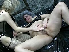 These sex-starved lesbians know how to spend their time with pleasure. Spoiled granny fucks her lesbian friend with a strapon until she cums.