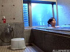 Sizzling Japanese chick Aya Takekawa takes a bath and oils her beautiful body and big tits. Then she rubs her clit and finger-fucks her juicy pink cave.