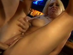 A slutty bitch sucks on a hard cock and then gets it shoved balls deep into her fuckin' gash, check it out right here, it's fuckin' awesome!
