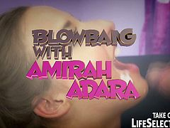Amirah Adara is ready for some hardcore blowbang with a bunch of big dicked dudes. Her tiny mouth got stretched wide and she enjoys every inch of their meaty cocks.