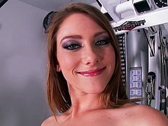 Watch this white hottie playing with her pussy in front of the camera in her gym naked and horny in Mofos Network sex clips.