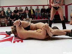 It's a tight match here at Ultimate Surrender and these bitches really want to win! The sexy referee makes sure, that the match takes place just the way we like it, dirty! The girls don't play fair and take advantage of each other's weakness! Yeah, this looks good, let's see who will win!