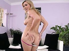 Blonde Tanya Tate with gigantic tits cant stop fingering her wet spot