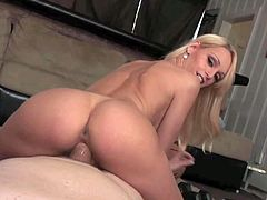Young blonde beauty Erica Fontes with arousing make up and delicious ass in socks only teases Chris Charming and rides on his pecker on the floor in pint of view.