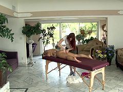 Blonde milf Katja Kassin allows her lesbian redhead GF Andrea Sky oil and massage her body. Andrea can't restrain herself from playing with Katja's vag and it all ends up with ardent lesbian love making.