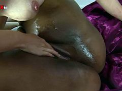 These lesbians are more than just good friends. White sexpot wants to get really with her girlfriend's pussy. She fucks her snatch with dildo until she cums. Get ready for the hottest interracial lesbian sex scene ever!