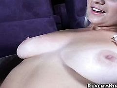 Blonde vixen Sammie Rhodes with juicy melons and trimmed twat inserts her fingers in her pussy hole