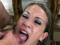 Man, she is a divine one and she loves it so big! Honey takes it in her mouth and then her beaver gets stuffed pretty hard! Orgasm is her voice.