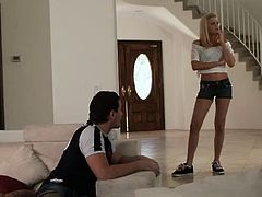The blonde has a pair of long sexy legs and a booty that grabs the guy's attention. She steps inside the room and immediately makes him horny. The blonde knows what this dude wants and gives him that. she spreads her sexy thighs and receives a pussy lick until feels the need to wrap her lips around his dick