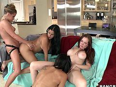 A fuckin' threesome ladies and gentlemen... featuring three girls, that's right, lesbian sex. Enjoy it right here, fuck face!