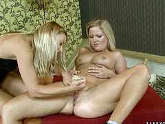 Damn, there's so much passion between these gals, and it manifests in every move they make together. Horny blondie tickles her gilrfriend's pussy with vibrator pushing her to the edge of powerful orgasm.
