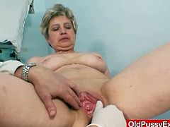 Old Pussy Exam brings you a nasty free porn video where you can see how a busty grandmother gets examined by her doctor while assuming some very interesting poses.
