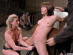 Ariel X and Dana Dearmond get toyed and whipped. Later on they get chained and toyed with a vibrator.