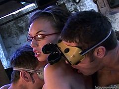 Brutal factory workers fuck one juicy secretary in MMF threesome