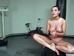 The babe with big natural tits Charley Chase is going to get her shaved pussy fucked by different dildos placed in a machine and also by a sybian.