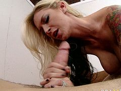 Passionate blonde bitch with big fake boobs is sucking massive dick deepthroat. She then stands on her all four getting fucked bad doggy style. Arousing porn scene presented by Brazzers Network.