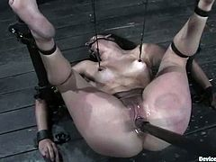THis busty brunette angel Bobbi Starr needs to be punished and here is the executor, who ties her up on the yoke and makes her stun.