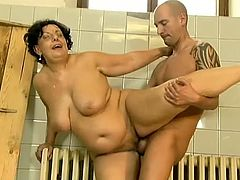Sue is fat mature bitch with big melons who loves big stiff cock. She attacked bald muscled trainer by the pool to nailed her hard. After hardcore sex she swallow his semen