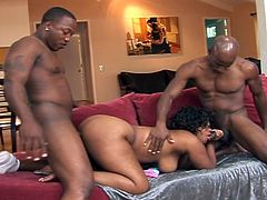 Hot ebony chick with one massive ass gets it pummeled by a black dude with a huge cock perfect for ramming it in.You will love that hot chocolate ass getting fucked hard in this hot threesome.