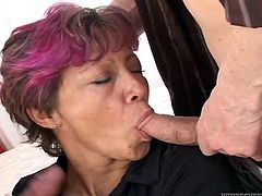 Don't judge her by the fact she's an old lady! Granny Milli can still take care of a bunch of men and does it like a pro. She's down on her knees and uses her lips, to satisfy all these young, horny guys. The men are in a great shape, but so is she, so she will suck them dry and show, what a granny like her can do!