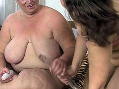 This fat old woman knows what she wants. She finds a dildo that suits her needs and starts masturbating in front of her lesbian friend.