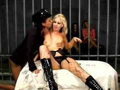 It's one crazy lesbian orgy with many sluts in prison, with cops and inmates licking pussy like crazy!