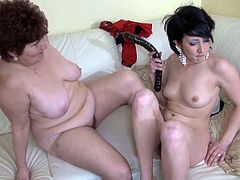 Watch this fat old babe getting her wet pussy licked by her friend who also feeling horny in their bedroom in Old Nanny sex clips.