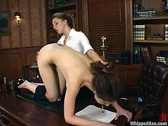 Isabella Soprano works not well, so her boss punishes her in the office. Isabella gets her ass spanked and pussy toyed with a strap-on.
