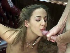 Shaved pussy and natural tits makes this dudes cock hard, he mast fuck her right away so he place her on his table and penetrate deep in her cunt.
