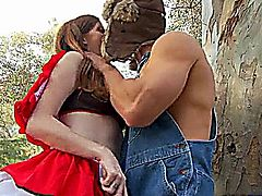 Teen meets the big bad wolf and his cock in the woods.