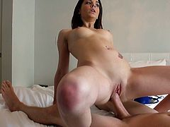 This cute brunette needs a proper fucking. Horny stud tells this chick to get down on all fours so he can pound her fanny doggy style. After a while she rides him like a cowgirl on a bucking bronco.