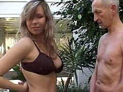 Slutty doll receives a large dick from old hunk eager to feel her pussy