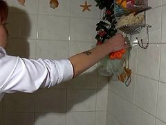 Sexy brunette nurse visits old granny Katerina at her house. She helps Katerina to take bath. So old granny takes off her clothes in a bathroom showing off her saggy boobs and hairy pussy for cam. Kinky nurse rubs her pussy with brush.