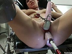 Tattooed brunette Tori Lux is having fun indoors. She shows off her sweet pussy and then gets it smashed by a fucking machine.