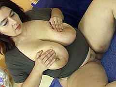 This fat woman needs a good pussy workout. She gets into sideways position to let her lover fuck her hard. He pounds her ruthlessly in and out just the way she likes it but she can't get enough of his cock. Then he fucks her fanny in missionary position.