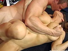 Fit and sexy mommy has got huge fake tits. Here in this episode, she is having passionate fuck session with her personal fitness instructor. She gets her clam fingered hard at first. After steamy finger fuck she gets screwed bad doggy style.