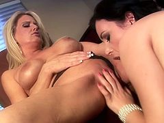One gorgeous blonde MILF with big melons called her best friend to come to her place and have perfect lesbian sex in her living room