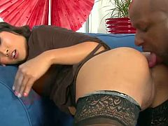 Salacious Asian milf Yuki Mori is having fun with a horny black dude indoors. She pleases him with an ardent blowjob and then they fuck doggy style and in other positions.