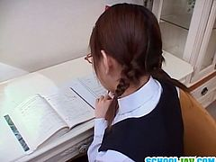 Asian schoolgirl Hina Ohtsuka is a cute teen and she is always ready to help her.This Japanese teen is pro in sucking cocks, standing on her knees and enjoys filling her mouth full with tasty cum.Don't miss it!