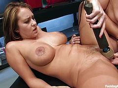 Toying and Spanking Plus Fucking Machine Action with Two Busty Vixens