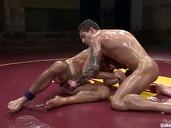 Cameron Kincade and Vance Crawford wrestle with each other on tatami. Then they rub each other's pricks and the winner pounds the loser'd butt afterwards.