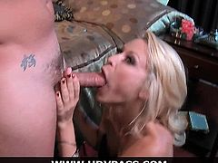Stunning blonde cougar Monique Alexander shows off her awesome blowjob skills before letting this lucky dude eat her out and fuck her brains out