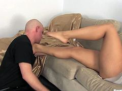 Check out beautiful Mistress Skylar and her slave. She is super naughty and will do anything to satisfy her foot fetish fantasies with this poor bastard now!