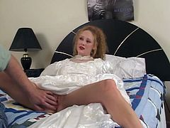 Curly blonde hoe is sucking that stiff cock and she is awesome in that before she gets that thing deep in her tight vagina, facial end comes next.