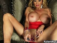 Nasty blonde laid on a couch has amazing part5