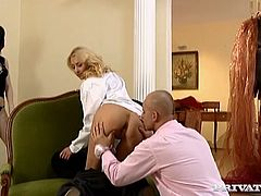 This dirty-minded gal is a sex freak! Seriously, she loves to fuck! If there's a chance for a good, hard fuck she takes it. Horny stud pounds her fanny mercilessly in and out loosening up her once tight hole.