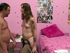 The ladyboy for today is Bella Belluci, a delicious shemale with chunky thighs and a craving for cock. This pretty bitch loves to fuck dirty so she bends over in front of this dude, showing him what she has best! Then, Bella goes on top and grinds her balls on his face. Curious what else she will do with him?