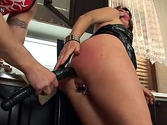 Kinky Redhead Mommy Gets Her Pussy and Asshole Abused In The Kitchen